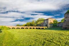 Пьяченца, средневековый городок, Италия Столетие Bastione di Porta Borghetto XVI Стоковые Фото