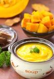 Пюре супа тыквы Стоковые Изображения