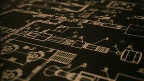 Пядь камеры согласно чертежу плана современной технологии иллюстрация вектора