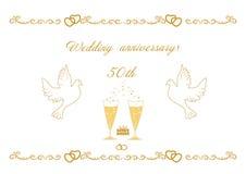пятидесятая карточка годовщины свадьбы для приветствий и сочинительство отправляют СМС ve Стоковые Фото