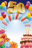 Пятидесятый плакат дня рождения стоковая фотография rf