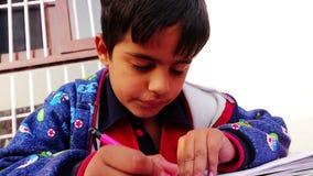 Пятилетний старый мальчик делая исследование дома сток-видео