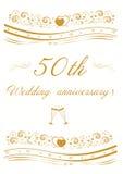 пятидесятая иллюстрация приглашения годовщины свадьбы Стоковое фото RF