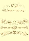 пятидесятый оригинал Illustrat приглашения годовщины свадьбы Стоковые Фотографии RF