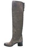 Пятка кожаных ботинок женщин коричневая в среднем Стоковые Фото