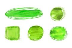 Пятна акварели зеленого цвета вектора изолированные на белой предпосылке, яркой текстуре краски, различные формы чистят ходы щетк бесплатная иллюстрация