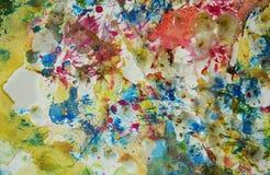 Пятна воска и пастели, предпосылка акварели краски Стоковые Изображения RF