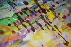 Пятна воска watercor красочной радуги красные желтые, творческий дизайн Стоковые Изображения