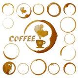 Пятна кофейной чашки вектора Помарки кофе изолированные на белизне Стоковая Фотография