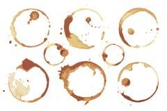 Пятна кофе и чая выведенные дн чашки установленными иллюстрация штока