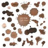 Пятна кофе, текстура брызг выплеска Брауна изолированные на белой предпосылке иллюстрация штока