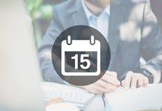 Пятнадцатая концепция календарного плана план-графика памятки назначения стоковые фото