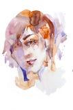 Пятна цвета головы портрета женщины акварели brightful Стоковая Фотография