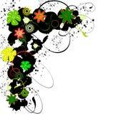 пятна grunge рамок florets Стоковая Фотография