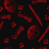 Пятница 13th безшовная картина Вектор Dotwork Стоковое Изображение