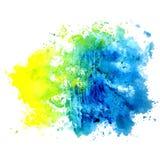 Пятно изолированное акварелью на белой предпосылке Голубой, желтый и Стоковые Фотографии RF