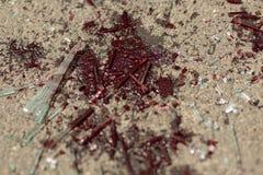 Пятно крови на дороге стоковые фотографии rf