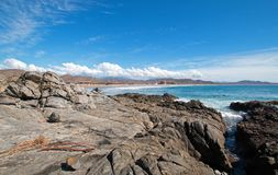 Пятно прибоя пляжа Cerritos скалистое в Нижней Калифорнии в Мексике стоковое фото rf