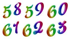 Пятьдесят восемь, пятьдесят девять, 60, 60 одних, шестьдесят двух, 63, 58, 59, 60, 61, 62, 63 каллиграфических 3D представило чис Стоковое Изображение
