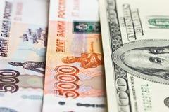 100 пять тысяч и 500 рублей долларов, Стоковая Фотография
