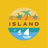 Плавайте чайки на острове необжитого захода солнца к плоскому дизайну Стоковые Фотографии RF