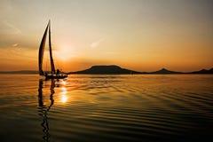 Плавание и заход солнца Стоковая Фотография