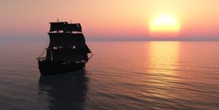 Плавание и заход солнца Стоковое фото RF
