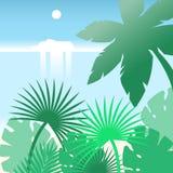 Плавание туристического судна вдоль тропического пляжа с пальмами Плоский ландшафт вектора Стоковые Фотографии RF