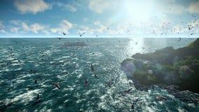 Плавание туристического судна, муха камеры над изолированным островом, чайками летая, ядровое включенным сток-видео