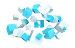 Плавать голубой и белый сияющий перевод куба 3D иллюстрация вектора