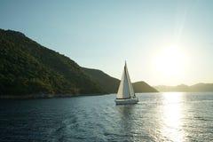 Плавать против захода солнца Стоковые Фото