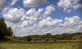 Плавающ в голубое небо, большие облака над лугом Стоковое Изображение