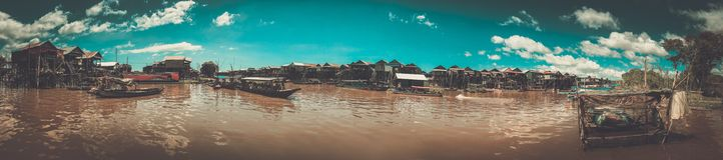 Плавая деревня Kompong Phluk, Siem Reap, Камбоджа Стоковое Изображение