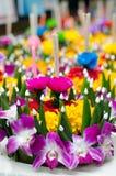 Плавая корзина цветка, фестиваль Таиланда Стоковое Изображение