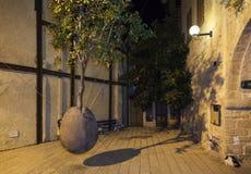 Плавая оранжевое дерево мимо побежало Morin Взгляд ночи от Яффы Израиль Стоковая Фотография