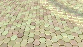 Плавая поверхностное сделанное с шестиугольниками Анимация петли готовая видеоматериал