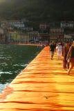 Плавая пристани, озеро Iseo, Италия Стоковое Изображение RF