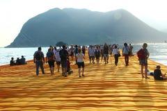 Плавая пристани, озеро Iseo, Италия Стоковое Изображение