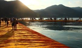 Плавая пристани, озеро Iseo, Италия Стоковое фото RF