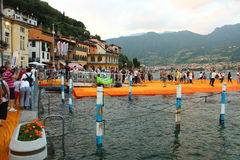 Плавая пристани, озеро Iseo, Италия Стоковые Изображения