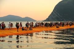 Плавая пристани, озеро Iseo, Италия Стоковые Изображения RF