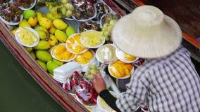 Плавая рынок, Бангкок, Таиланд видеоматериал