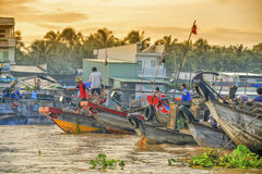 Плавая рынок, перепад Меконга, Can Tho, Вьетнам Стоковое Изображение