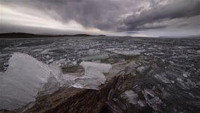 Плавить льда на озере сток-видео
