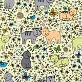 Плавно картина с котами иллюстрация штока