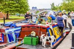 Плавучие дома в фестивале каналов Etruria, Trent и канале Мерси, Стоковая Фотография RF