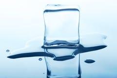Плавя куб льда с отражением изолированный на белизне Стоковая Фотография RF