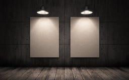2 плаката вися на стене в промышленном интерьере Насмешка вверх Стоковое Фото