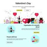 Плакаты и знамена дня валентинок в плоском стиле Орнаменты, сердца, лента вектор Валентайн праздника зрелый s дня вишен предпосыл Стоковое Изображение RF