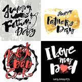 Плакаты мотивировки литерности руки концепции дня отцов Стоковые Фотографии RF